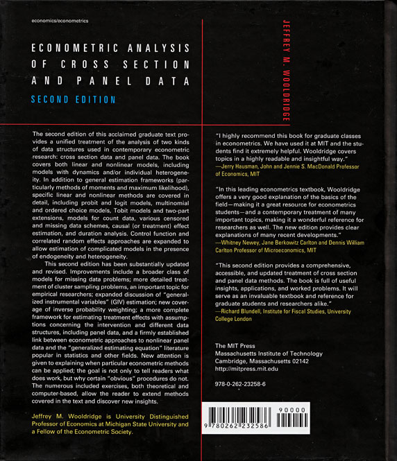 Stata bookstore econometric analysis of cross section and panel stata bookstore econometric analysis of cross section and panel data second edition fandeluxe Gallery
