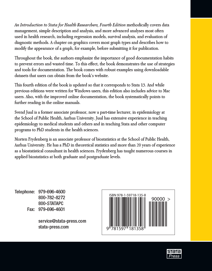 Stata Bookstore: An Introduction to Stata for Health