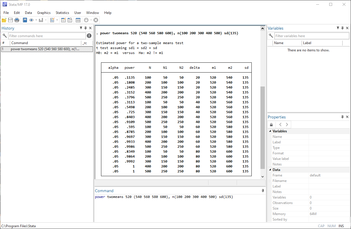 Power and sample size | Stata