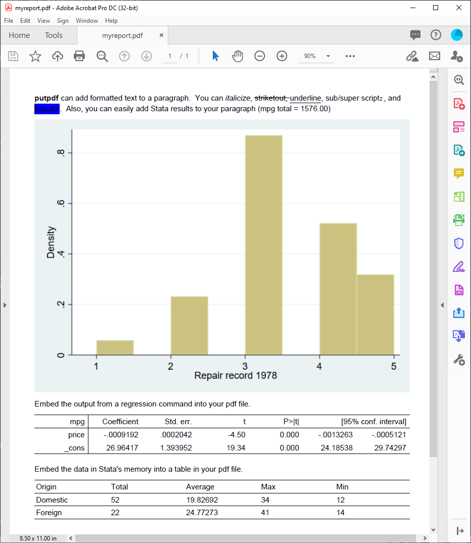 Create PDF files with embedded Stata results   Stata