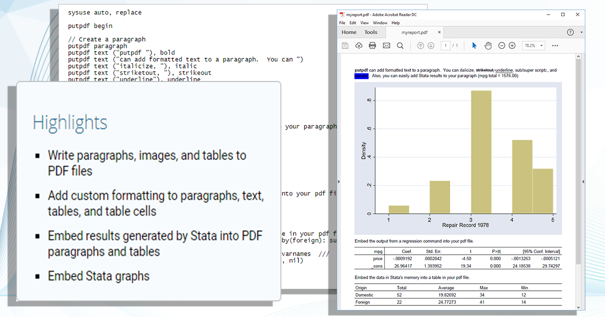 Create PDF files with embedded Stata results | Stata