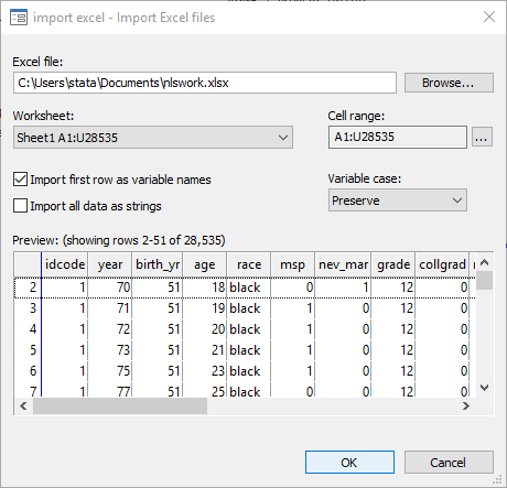 Excel import/export | Stata