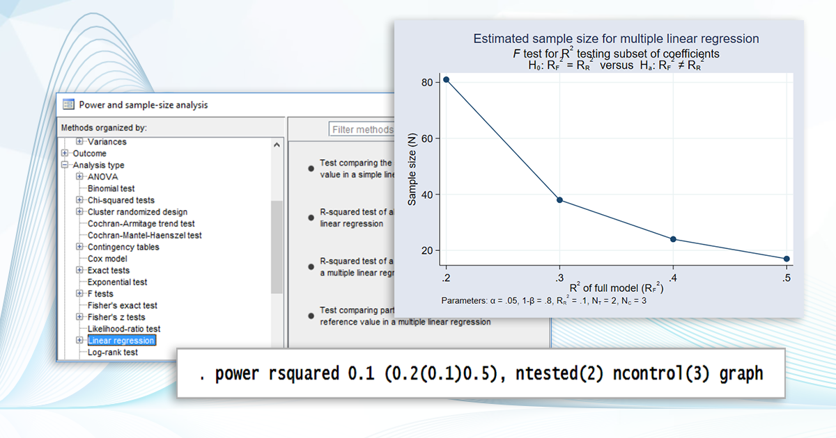 Power analysis for linear regression | Stata