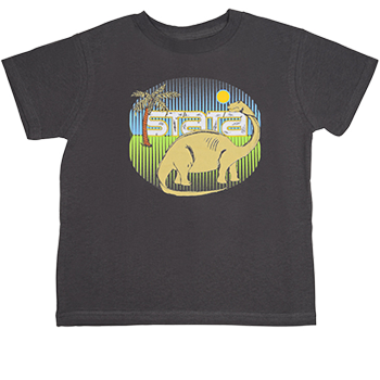 gray child's brontosaurus shirt