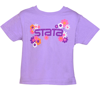 purple child's flower shirt