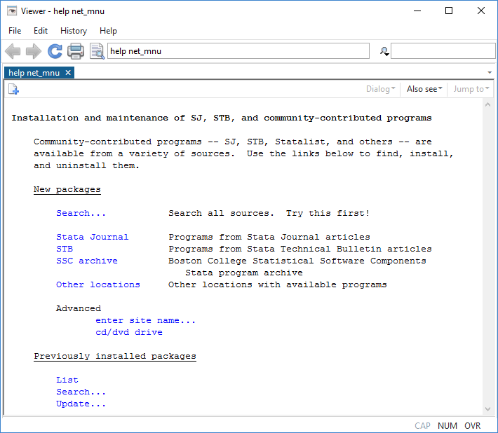 Stata | Finding resources from within Stata